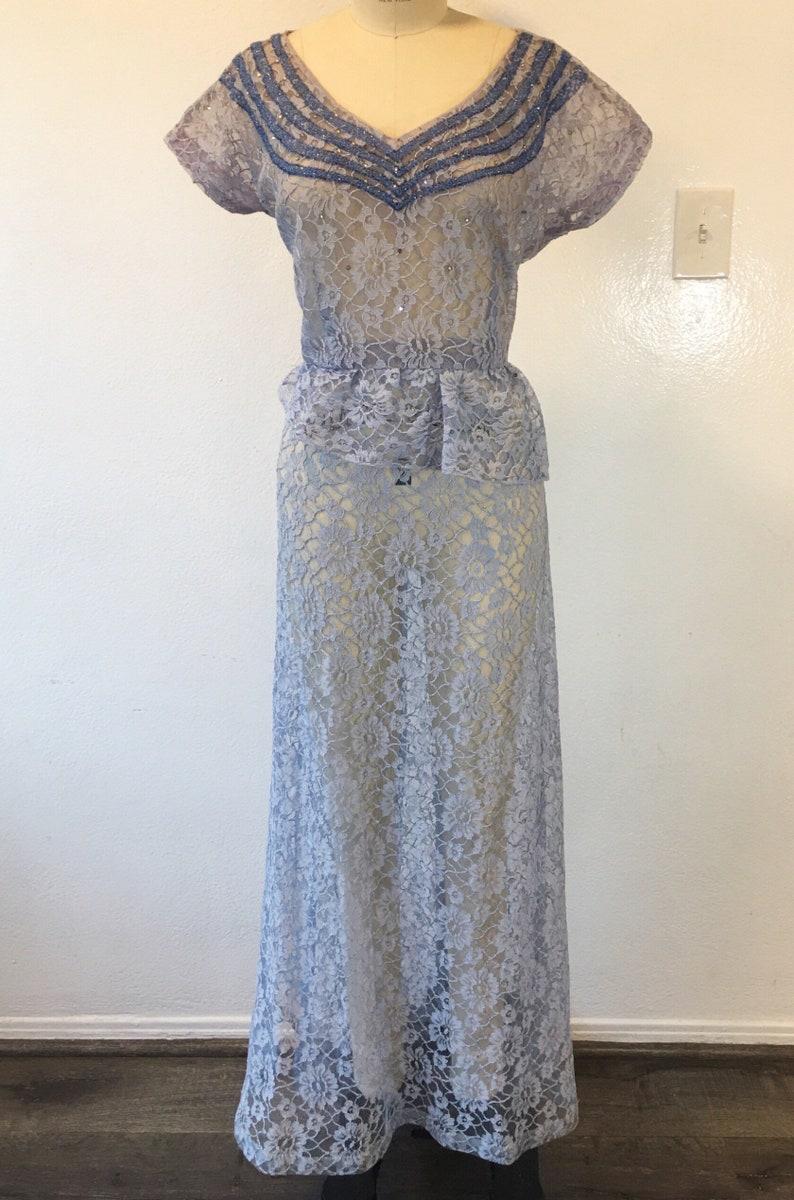1940s1950s W:30 baby blue sheer lace beaded rhinestone neckline asymmetric peplum evening gown