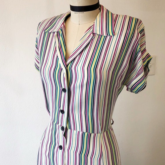 1940s W:32 multicolor stripe rayon button up day d