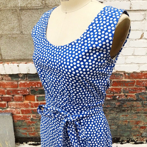 1930s/1940s W:24 blue white polka dot cotton feeds
