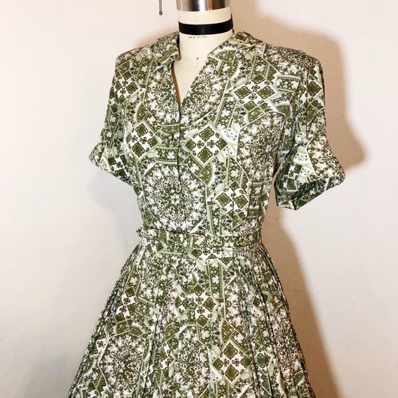 1950s/1960s W:32 VOLUP olive green white Indian ta