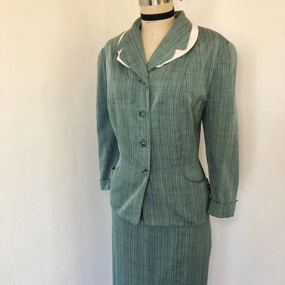 1940s/1950s W:32 VOLUP 2PC aqua black cotton rayon