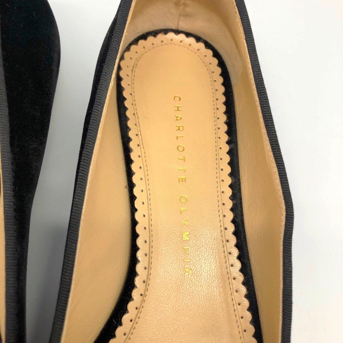 CHARLOTTE OLYMPIA S:7.5 38 in velluto nero alato rotondo novità oro ragnatela appartamenti ricamati - Scarpe alla moda aFsGZE45 ojtmmT iXuoca