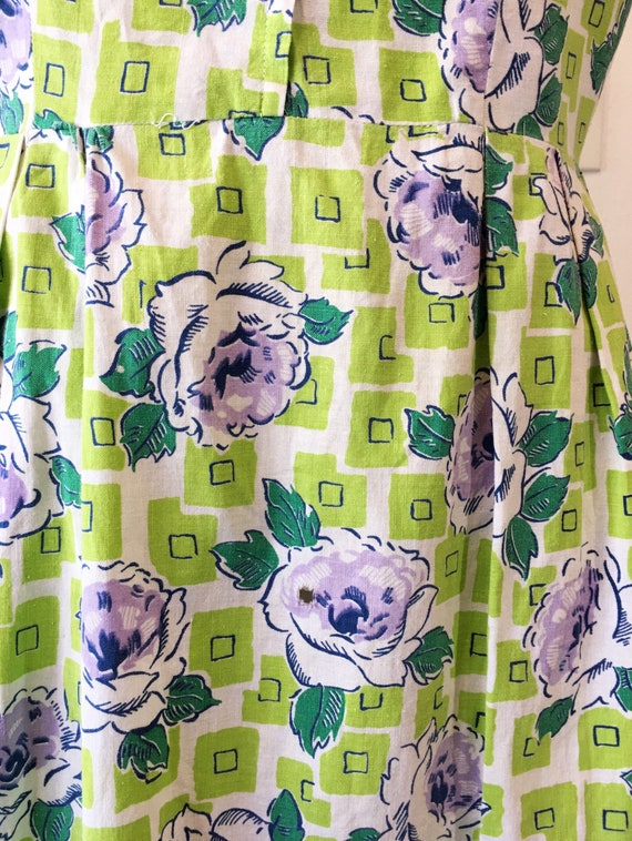 1930s/1940s W:30 chartreuse purple geometric rose… - image 5