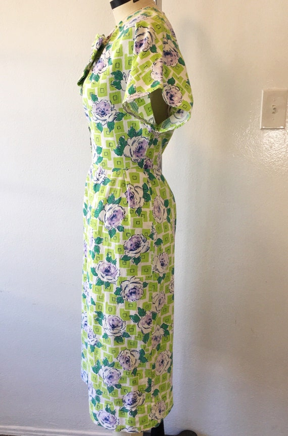 1930s/1940s W:30 chartreuse purple geometric rose… - image 3