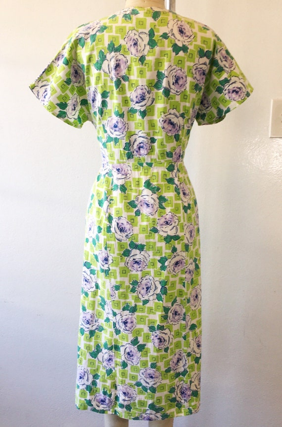 1930s/1940s W:30 chartreuse purple geometric rose… - image 4