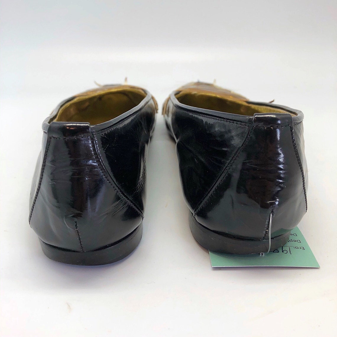 1980s SZ:7.5 38 black patent leather metallic novelty tiger face point toe flats - Scarpe alla moda gPf7Nir5 tthday nihfQ5