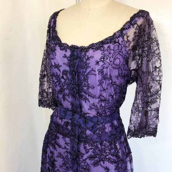 1950s W:32 VOLUP 2PC sheer purple black Chantilly