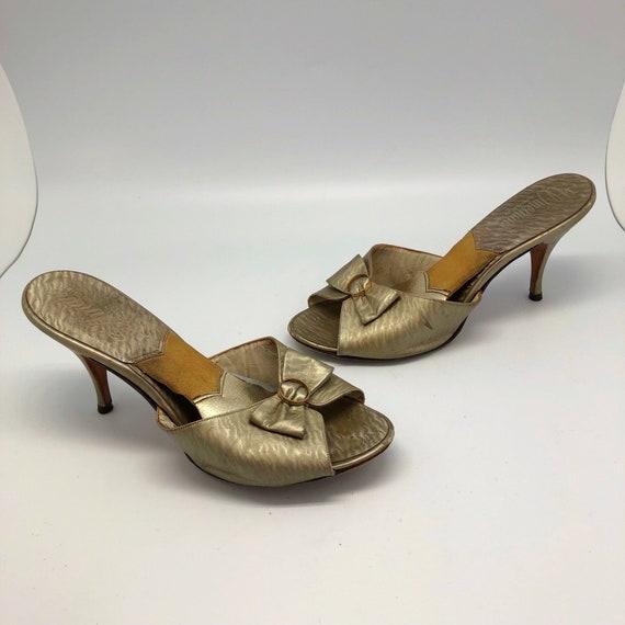 1950s 1960s SZ:8.5M gold swirl leather springolato