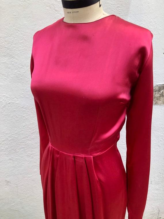 1940s 1950s W:24 plain hot pink rayon satin long s