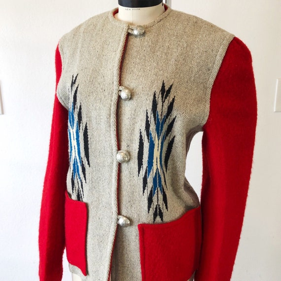 1940s SZ:M red gray blue black wool chimayo 49er j
