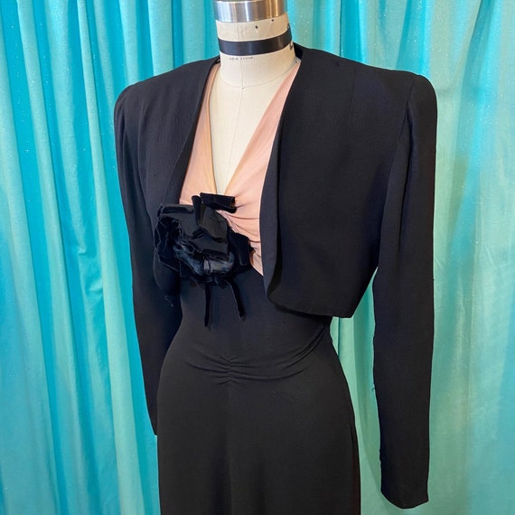 1930s/1940s W:25 2PC LBD black pink rayon crepe co