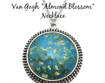 Van Gogh Almond Blossoms Necklace- Van Gogh Art Key Chain - 6 Background Color Options - 5 Finishes Available - Vintage Round - Wearable Art