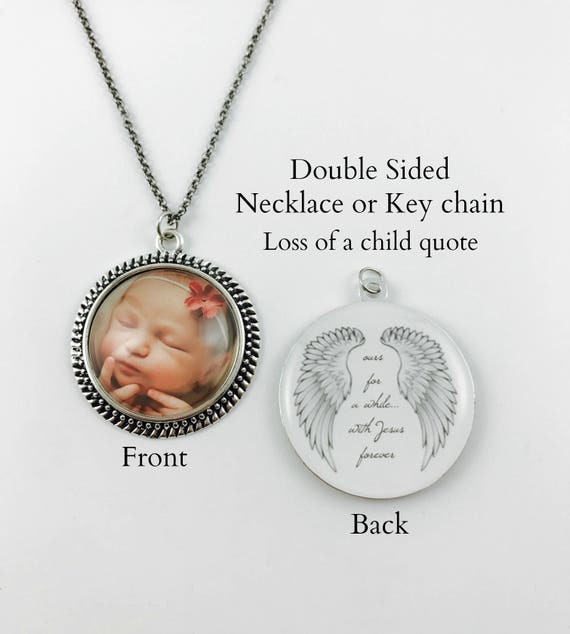 5 finishes available In Loving Memory Memorial Necklace or Key chain Your Loved One/'s Photo on a Double Sided Pendant Round Vintage