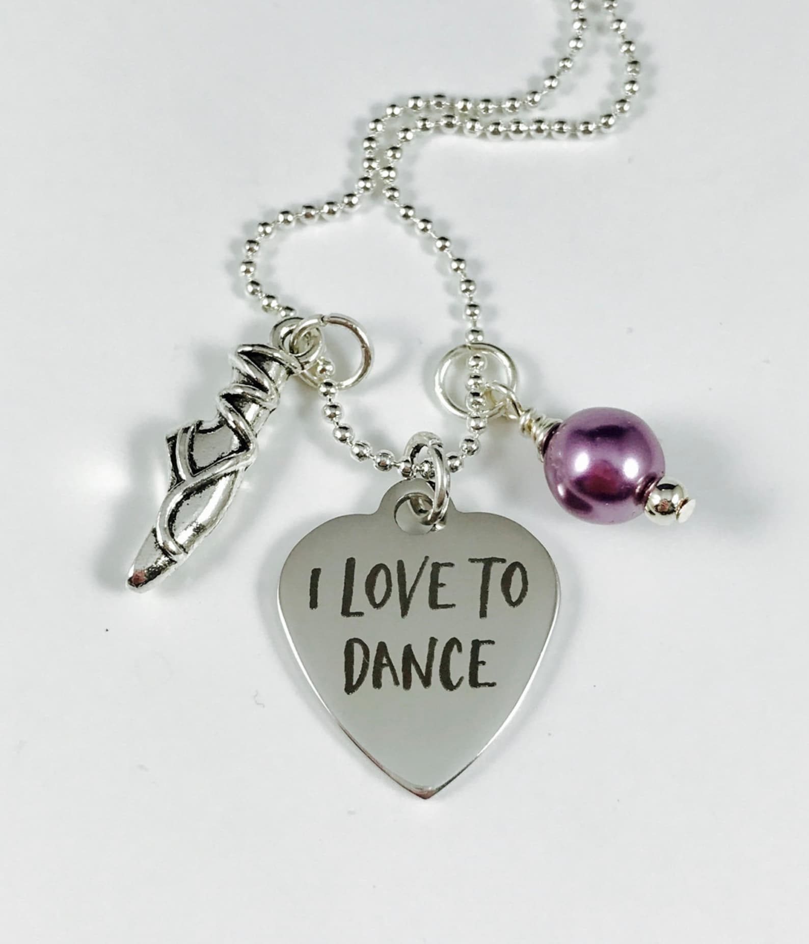 i love to dance with ballet shoe charm and your choice of pearl color - laser engraved pendant - stainless steel pendant
