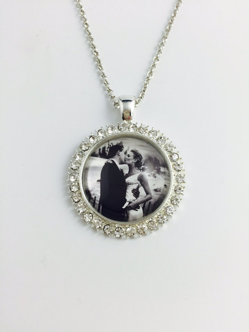Round Silver Rhinestone Necklace or Key chain Personal Photo Personalized Wedding Gift