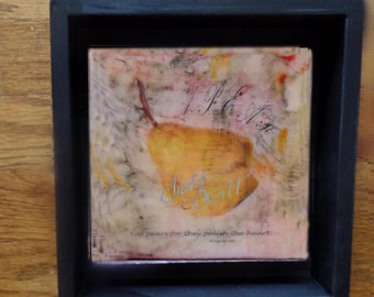 Encaustic | Mothers Day | organic | Rustic | wall decor |  pear | beeswax | heritage art |  wood frame | house gift |Pear