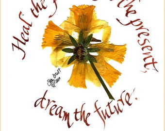 Thinking of you card, daffodils, heal the past, encouragement, health crises, recycled paper, pressed  flower art