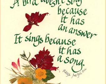 Maya Angelou, poet laureate, was a famous woman. She had a beautiful soul and she shared her enlightenment. calligraphy, stamp design, q611