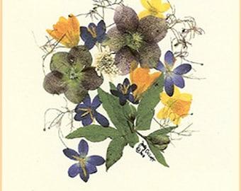 Easter, Lenten roses floral card, vintage inspired, Blank note card, Pressed flowers, hellebores, Lenten roses. recycled paper