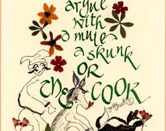 Father's Day, culinary, Irish proverb, fun card, kitchen showers, cook, kitchen art, original design print, blank