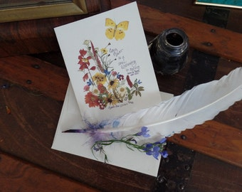 Sympathy card, quote card. lovely message, original art print,pressed flowers, caring card, heartful message