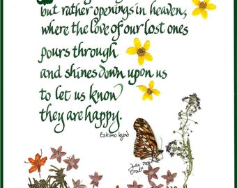 Sympathy card, pressed flowers, Eskimo Legend, perhaps they are not the stars,original art, calligraphy, note card, print, butterflies,J1002
