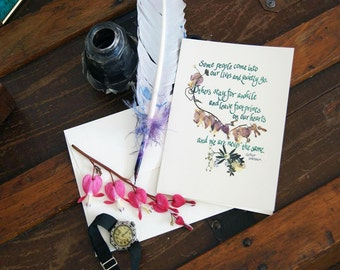 Love Note card, caring, best seller, calligraphy, pressed flower art, Some People quote, sympathy, blank note card, giclee print, w305
