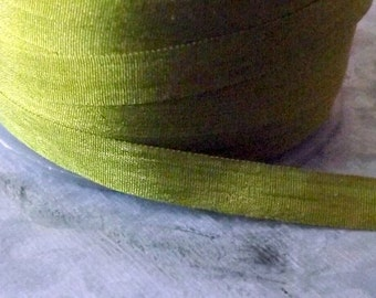 Silk Moss Green Silk Ribbon 1/4 inch 2 Yards 100% Silk