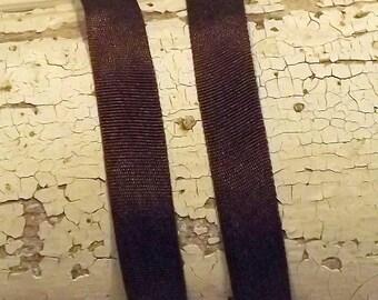 Silk Brown Silk Ribbon 1/4 inch 2 yards 100% silk
