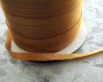 Silk Antique Gold Silk Ribbon 1/8 inch 4 yards 100% Silk