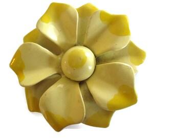 Yellow Enamel Flower Brooch, Estate Brooch, Flower Pin, Vintage Accessory, Mid Century Jewelry,