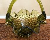 Green Fenton art glass basket, Vintage Hobnail Basket, Ruffled Edges, 1960s glass