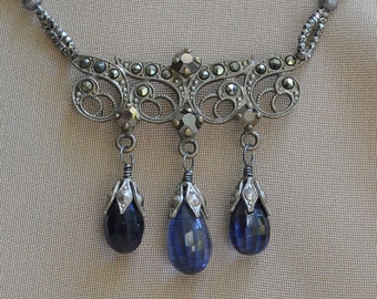 Dark is the Night / One of a kind Assemblage Necklace with Sapphire Briolettes