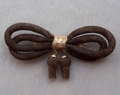 Antique Woven Hair Victorian Bow and tassels Brooch