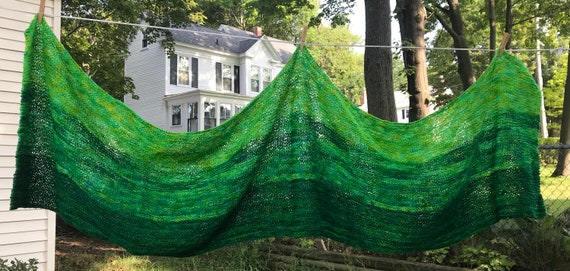 Vibrant green ombre hand knit oversize scarf shawl in organic hand dyed sheep wool