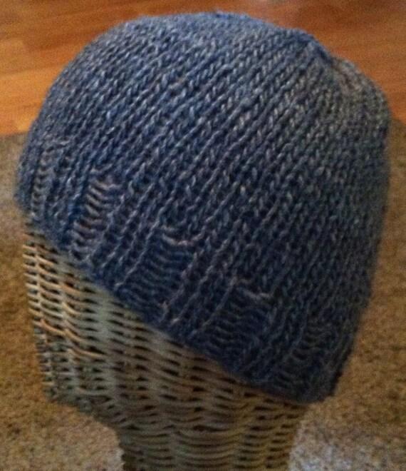 Charcoal gray wool ribbed ski beanie hat