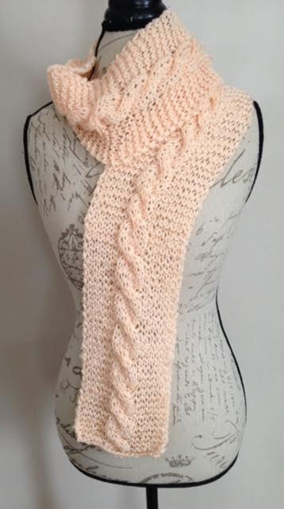 Spring Peach Cable Knit Scarf