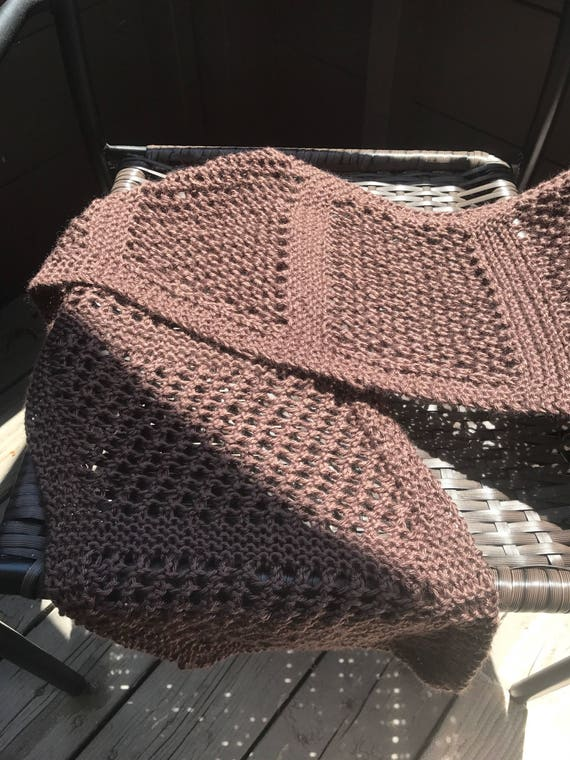 Super soft milk chocolate brown lace hand knit scarf