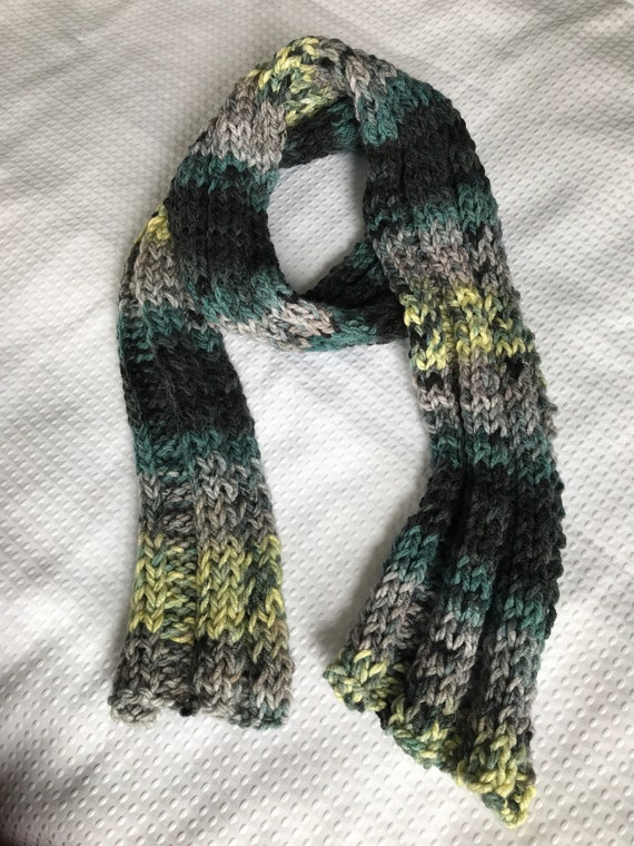 Multicolor dark aqua teal gray lemon yellow hand knit chunky stretch ribbed scarf