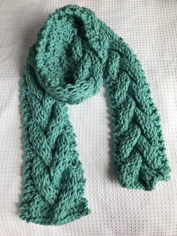 Aqua teal chunky braid cable hand knit scarf