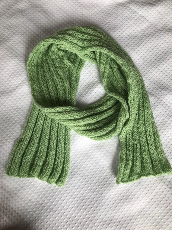 Pale mint green ribbed hand knit wool stretchy scarf