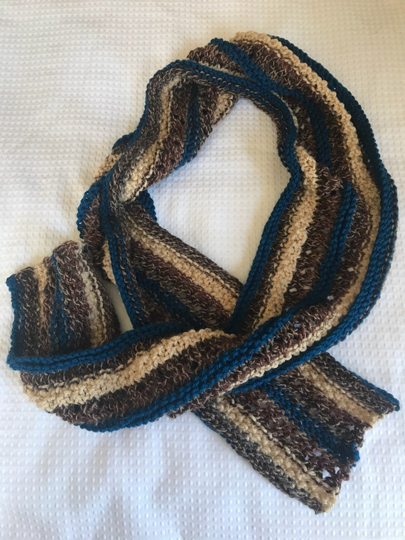 Mixed fiber media patchwork hand knit scarf in rust brown neutral and dark teal