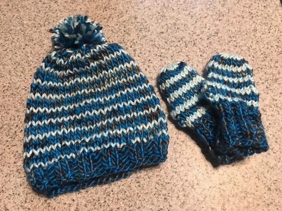 Itty bitty baby infant snuggly winter hat and mitts set in any color