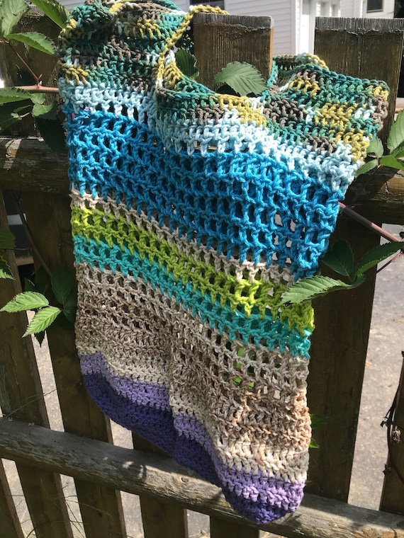 100% ecofriendly upcycled cotton produce market bag hand crocheted