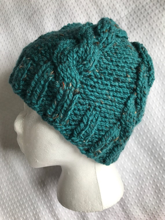 Chunky aqua teal tweed cable hand knit beanie hat