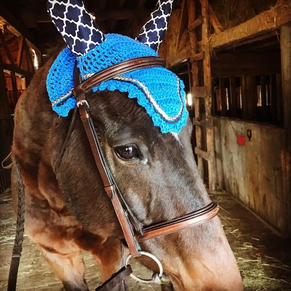 Customized Show Ready Equestrian Fly Ear Bonnets Dressage Jumper Eventer Trails