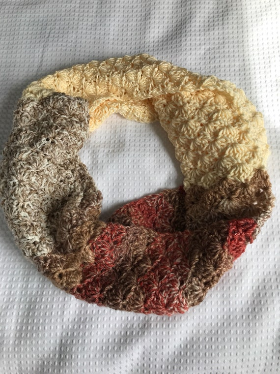 Mixed fiber shell stitch hand crocheted infinity scarf in cream, salmon pink orange, brown, tan wool and acrylic