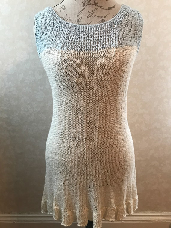 Ice blue and white linen hand knit spring summer tank blouse tunic with ruffle accent