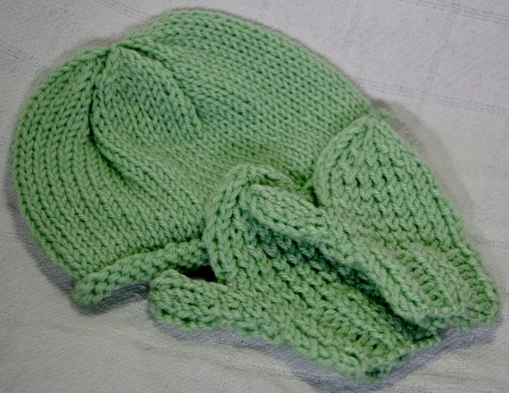 Infant/Toddler Mint Green Baby Beanie Hat and Mittens Set