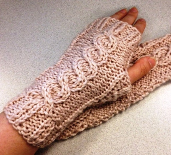 Intermediate Cabled Fingerless Gloves with Textured Palm KNITTING PATTERN